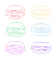 set of contour multicolored macaroon element for vector image