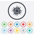 Sun sign icon Solarium symbol Heat button vector image vector image