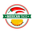 taco logo icon isolated on white traditional vector image vector image