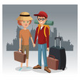tourists in the city vector image vector image