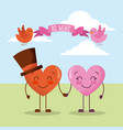 two couple hearts cartoon holding hands be mine vector image