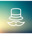 Vintage fashion hat and mustache thin line icon vector image