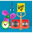 Wake up Workspace mock up with analog alarm clock vector image vector image