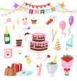 birthday kids party cartoon childs happy vector image