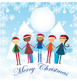 childres over snow hoding hands cartoons vector image