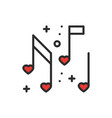 love music heart notes line icon sign and symbol vector image