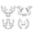 rustic set wreaths icons vector image