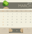 2015 calendar monthly calendar template for March vector image vector image