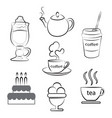 a cup of hot coffee tea and dessert vector image vector image