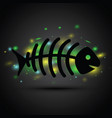 a dead fish on black background vector image vector image