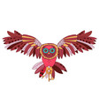 a flying owl holds keys isolate on white vector image