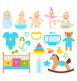 baand kids caring objects cradle and toys vector image vector image