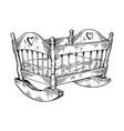 baby cradle engraving vector image