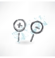 Brush icon with two zoom magnifiers vector image vector image