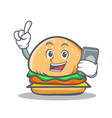 burger character fast food with phone vector image vector image