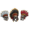 cartoon skulls in american indian chief headdress vector image vector image