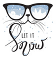 Cat in the glasses in which winter is reflected vector image vector image