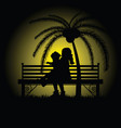 children silhouette sitting on bench vector image vector image