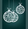 christmas balls white color vector image vector image