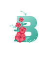 color letter b with beautiful flowers vector image