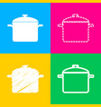 cooking pan sign four styles of icon on four vector image vector image
