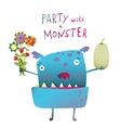 Cute and Funny Monster with Bunch of Flowers Fruit vector image