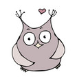 cute funny happy cheerful in love owl bird vector image vector image