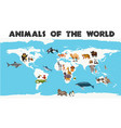 different types of animals around the world on vector image