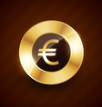 euro golden coin design with shiny effects vector image vector image