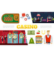 flat casino elements collection vector image vector image
