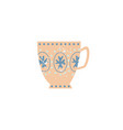 flat ceramic crockery cup decorated icon vector image vector image