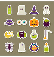 Flat Scary Halloween Stickers Collection vector image