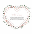 floral heart with decorative flowers valentines vector image vector image