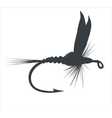 Fly-fishing on white background vector image vector image