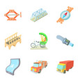 freight transport icons set cartoon style vector image vector image