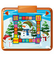 game template with snowman and pine trees vector image vector image