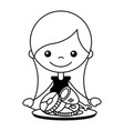 girl with chicken meat and pork vector image