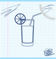 glass juice line sketch icon isolated on white vector image vector image