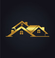 gold house realty business logo vector image vector image