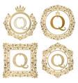 golden letter q vintage monograms set heraldic vector image vector image