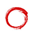 hand drawn red ink grunge circle frame vector image