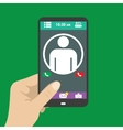 Hand holding smart phone the icon on the screen vector image