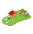 isometric slaughtering house vector image vector image