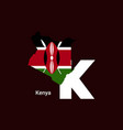kenya initial letter country with map and flag vector image