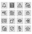 line home security icons set vector image vector image
