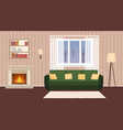 living room interior with fireplace sofa lamps vector image