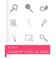 magnufying glass icons set vector image vector image