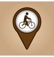 man ridding bike vintage icon vector image