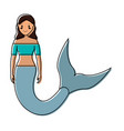 mermaid with long hair vector image