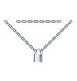 metal chain with padlock isolated vector image